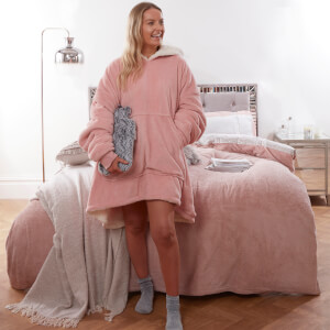 Super Soft Sherpa Hoodie Fleece Blanket - Blush Pink