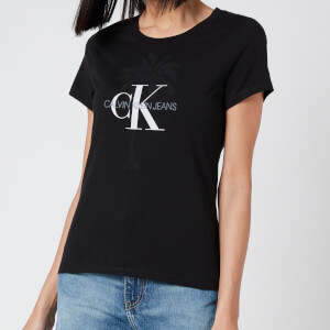 Calvin Klein Jeans Women's Palm Tree Monogram Slim T-Shirt - CK Black