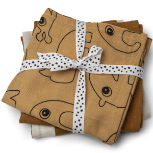 Done by Deer Muslin Cloth - 3 Pack - Mustard