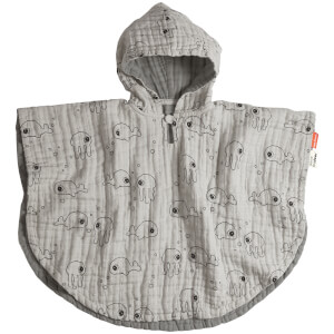 Done by Deer Bath Poncho - Sea Friends - Grey