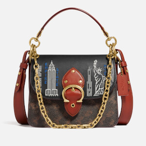 Coach New York Women's Stardust City Skyline Beat Shoulder Bag 18 - Tan Brown Rust
