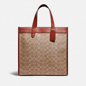 Coach New York Women's Signature/Horse and Carriage Canvas Mix Field Tote Bag - Tan Brown Rust