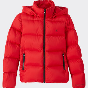 Calvin Klein Jeans Women's Mw Shiny Short Puffer - Red Hot