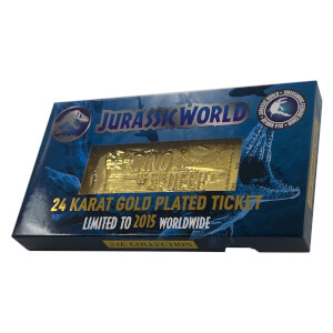 Jurassic Park 24k Gold Plated Jurassic World Montosaurous Ticket Limited Edition Replica - Zavvi Exclusive