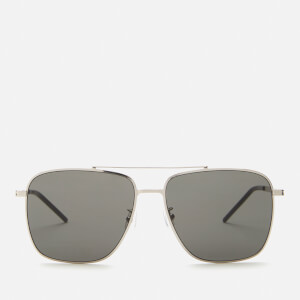 Saint Laurent Men's Sl 376 Slim Metal Aviator Sunglasses - Silver/Grey