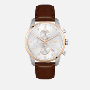 BOSS Hugo Boss Men's Skymaster Leather Strap Watch - White/Silver/Brown