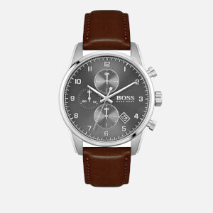 BOSS Hugo Boss Men's Skymaster Leather Strap Watch - Grey/Silver/Brown