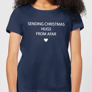 Sending Christmas Hugs From Afar Women's T-Shirt - Navy