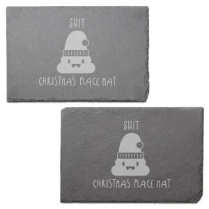 Shit Christmas Engraved Slate Placemat - Set of 2