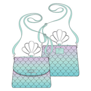 Loungefly Disney Little Mermaid Ombre Scales Shell Handle Crossbody Bag