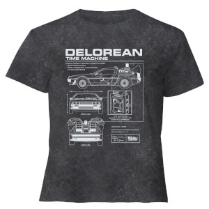 Back To The Future Delorean - Women's Cropped T-Shirt - Black Acid Wash