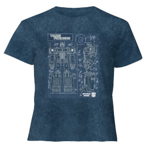 Transformers Optimus Prime Schematic - Women's Cropped T-Shirt - Navy Acid Wash