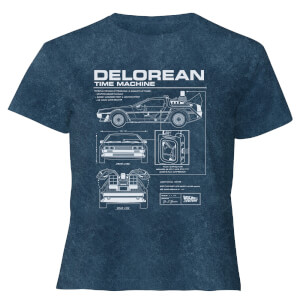 Back To The Future Delorean - Women's Cropped T-Shirt - Navy Acid Wash