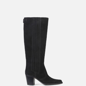 Ganni Women's Suede Knee Boots - Black