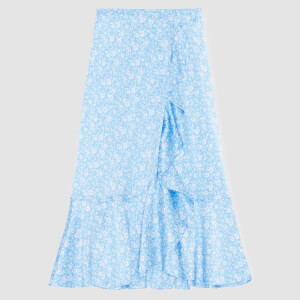 Ganni Women's Silk Stretch Satin Skirt - Alaskan Blue