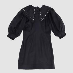 Ganni Women's Light Linen Mini Dress - Phanthom