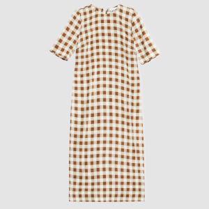Ganni Women's Silk Stretch Satin Midi Dress - Toffee