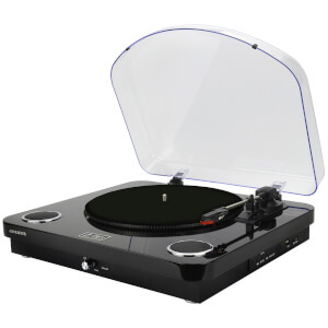 AIWA GBTUR-120BK Music Centre/Record Player with Built in Speakers, FM and Wireless - Black