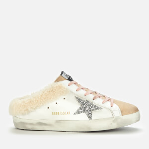 Golden Goose Deluxe Brand Women's Sabot Shearling Lined/Leather Mules - Cappuccino/White/Silver