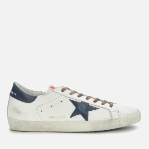 Golden Goose Deluxe Brand Men's Superstar Leather Trainers - White/Night Blue
