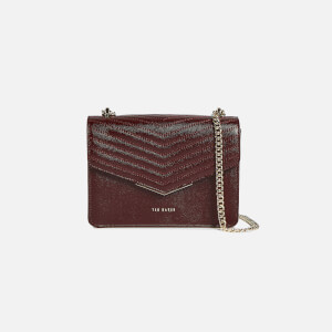 Ted Baker Women's Shakib Patent Quilted Envelope Mini Cross Body Bag - Deep Purple