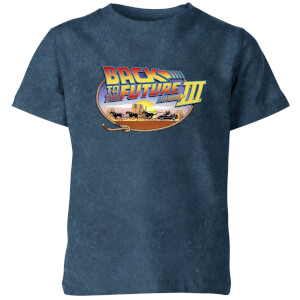 Back To The Future Kids' T-Shirt - Navy Acid Wash