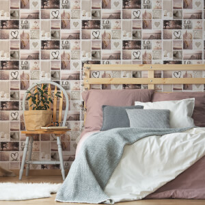 Fresco Natural Hearts and Candles Paulette Geometric Wallpaper