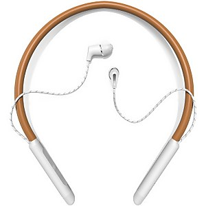 Klipsch T5 Wireless In-Ear Neckband In-Ear Headphones - Brown Leather & Silver