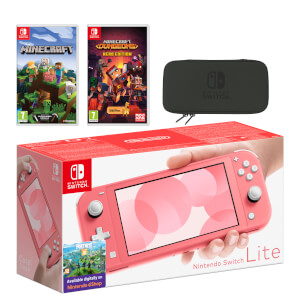 Nintendo Switch Lite (Coral) Minecraft Double Pack
