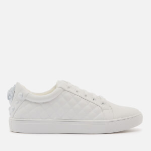Kurt Geiger London Women's Ludo Drench Leather Quilted Cupsole Trainers - White
