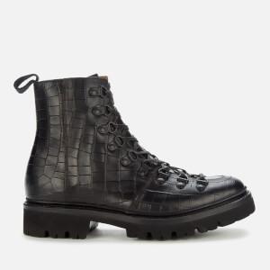 Grenson Women's Nanette Croc Print Hiking Style Boots - Black
