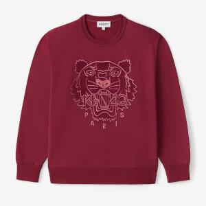 KENZO Women's Velvet Tigerhead Embroidered Crewneck Sweatshirt - Red