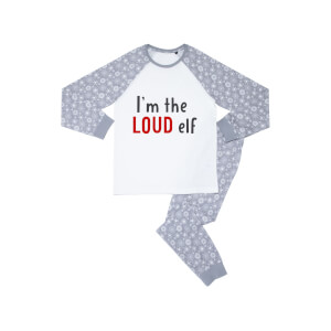 I'm The Loud Elf Men's Patterned Pyjamas - White / Grey