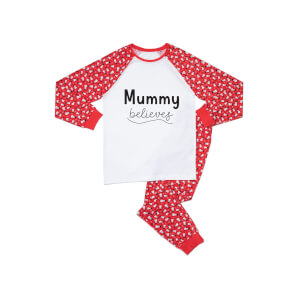 Mummy Believes Women's Patterned Pyjamas - White / Red