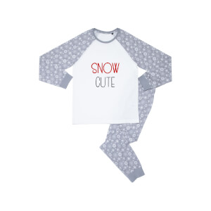 Snow Cute Kids' Patterned Pyjamas - White / Grey