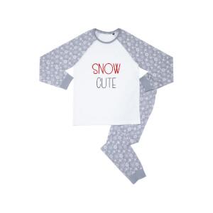 Snow Cute Kids' Patterned Pyjamas - White / Grey