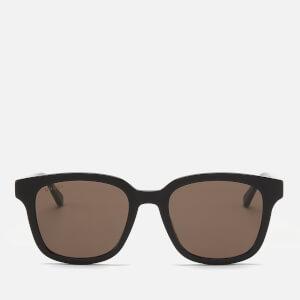 Gucci Men's Acetate Frame Sunglasses - Shiny Solid Black/Green