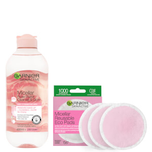 Garnier Makeup Remover Eco Pads and Rose Micellar Water Duo Set