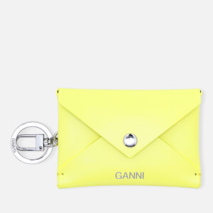 Ganni Women's Leather Key Chain/Envelope Cardholder - Lemon