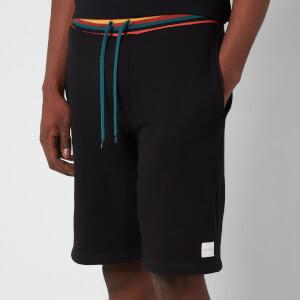PS Paul Smith Men's Drawstring Stripe Rib Jersey Shorts - Black