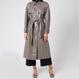 Whistles Women's Croc Belted Trench Coat - Grey