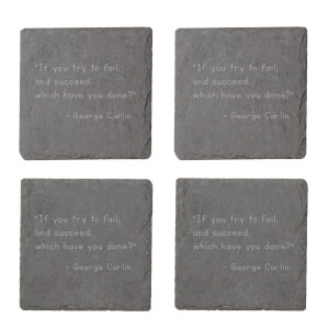 If You Try But Fail Engraved Slate Coaster Set