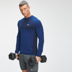 MP Men's Essential Seamless Long Sleeve Top - Intense Blue Marl