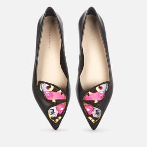 Sophia Webster Women's Butterfly Embroidery Pointed Flats - Black/Multi