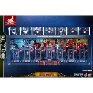Hot Toys Movie Masterpiece Compact - Miniature Figure: Iron Man 3 - Iron Man Hall Of Armor (7 Units Set/Uncut Package)