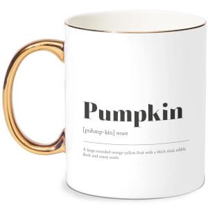 Pumpkin Definition Bone China Gold Handle Mug