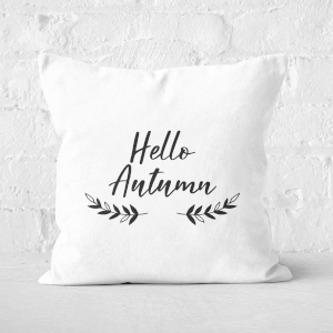 Hello Autumn Wreath Square Cushion