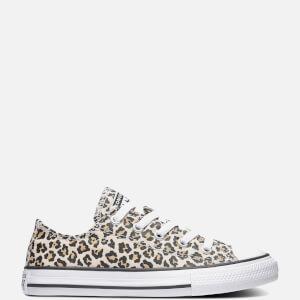 Converse Kids' Chuck Taylor All Star Leopard Print Ox Trainers - Black/Driftwood