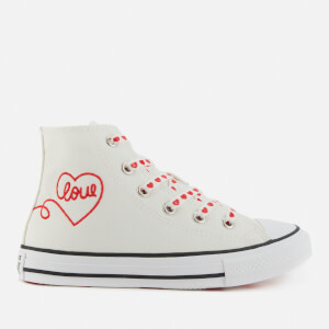 Converse Kids' Chuck Taylor All Star Heart Hi - Top Trainers - Vintage White