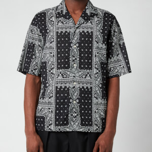 Officine Generale Men's Eren Bandana Print Short Sleeve Shirt - Black